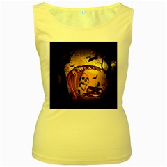 Halloween, Funny Pumpkin With Skull And Spider In The Night Women s Yellow Tank Top by FantasyWorld7