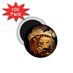 Halloween, Funny Pumpkin With Skull And Spider In The Night 1 75  Magnets (100 Pack)  by FantasyWorld7