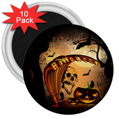 Halloween, Funny Pumpkin With Skull And Spider In The Night 3  Magnets (10 Pack)  by FantasyWorld7