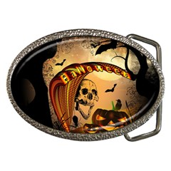 Halloween, Funny Pumpkin With Skull And Spider In The Night Belt Buckles by FantasyWorld7