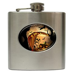 Halloween, Funny Pumpkin With Skull And Spider In The Night Hip Flask (6 Oz) by FantasyWorld7