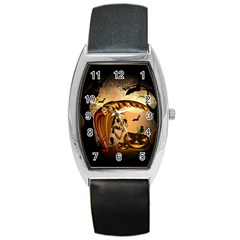 Halloween, Funny Pumpkin With Skull And Spider In The Night Barrel Style Metal Watch by FantasyWorld7