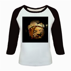 Halloween, Funny Pumpkin With Skull And Spider In The Night Kids Baseball Jerseys by FantasyWorld7