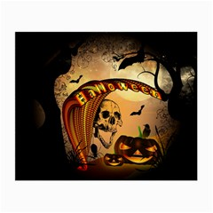 Halloween, Funny Pumpkin With Skull And Spider In The Night Small Glasses Cloth by FantasyWorld7