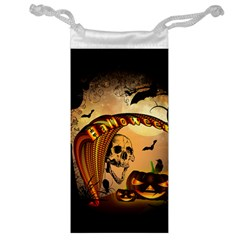 Halloween, Funny Pumpkin With Skull And Spider In The Night Jewelry Bags by FantasyWorld7