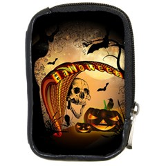 Halloween, Funny Pumpkin With Skull And Spider In The Night Compact Camera Cases by FantasyWorld7