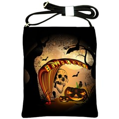 Halloween, Funny Pumpkin With Skull And Spider In The Night Shoulder Sling Bags by FantasyWorld7