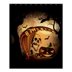 Halloween, Funny Pumpkin With Skull And Spider In The Night Shower Curtain 60  X 72  (medium)