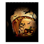 Halloween, Funny Pumpkin With Skull And Spider In The Night Shower Curtain 60  x 72  (Medium)  54.25 x65.71 Curtain