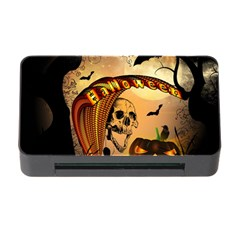 Halloween, Funny Pumpkin With Skull And Spider In The Night Memory Card Reader With Cf by FantasyWorld7
