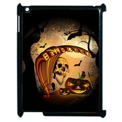Halloween, Funny Pumpkin With Skull And Spider In The Night Apple Ipad 2 Case (black) by FantasyWorld7