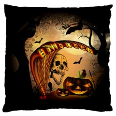 Halloween, Funny Pumpkin With Skull And Spider In The Night Large Cushion Case (one Side) by FantasyWorld7