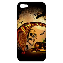 Halloween, Funny Pumpkin With Skull And Spider In The Night Apple Iphone 5 Hardshell Case by FantasyWorld7