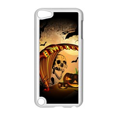 Halloween, Funny Pumpkin With Skull And Spider In The Night Apple Ipod Touch 5 Case (white) by FantasyWorld7