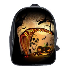 Halloween, Funny Pumpkin With Skull And Spider In The Night School Bags (xl)  by FantasyWorld7