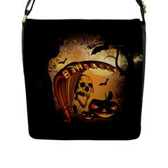 Halloween, Funny Pumpkin With Skull And Spider In The Night Flap Messenger Bag (l)  by FantasyWorld7