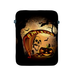Halloween, Funny Pumpkin With Skull And Spider In The Night Apple Ipad 2/3/4 Protective Soft Cases by FantasyWorld7