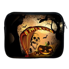 Halloween, Funny Pumpkin With Skull And Spider In The Night Apple Ipad 2/3/4 Zipper Cases by FantasyWorld7