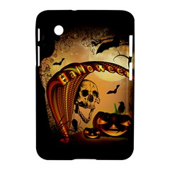 Halloween, Funny Pumpkin With Skull And Spider In The Night Samsung Galaxy Tab 2 (7 ) P3100 Hardshell Case  by FantasyWorld7
