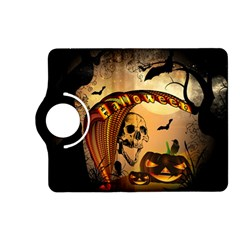 Halloween, Funny Pumpkin With Skull And Spider In The Night Kindle Fire Hd (2013) Flip 360 Case by FantasyWorld7