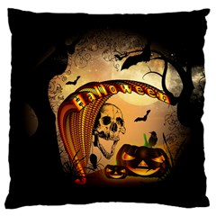 Halloween, Funny Pumpkin With Skull And Spider In The Night Standard Flano Cushion Case (two Sides) by FantasyWorld7