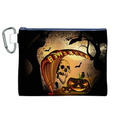 Halloween, Funny Pumpkin With Skull And Spider In The Night Canvas Cosmetic Bag (xl) by FantasyWorld7