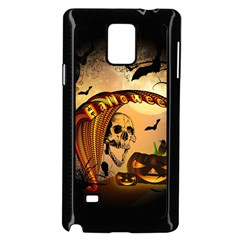Halloween, Funny Pumpkin With Skull And Spider In The Night Samsung Galaxy Note 4 Case (black) by FantasyWorld7