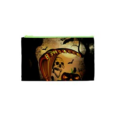 Halloween, Funny Pumpkin With Skull And Spider In The Night Cosmetic Bag (xs) by FantasyWorld7