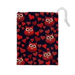 Owl You Need In Love Owls Drawstring Pouches (large)  by BubbSnugg