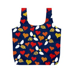 Honey Bees In Love Full Print Recycle Bags (m)  by BubbSnugg