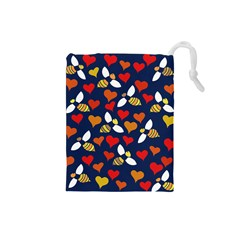 Honey Bees In Love Drawstring Pouches (small)  by BubbSnugg