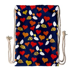 Honey Bees In Love Drawstring Bag (large) by BubbSnugg