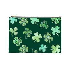 Lucky Shamrocks Cosmetic Bag (large)  by BubbSnugg