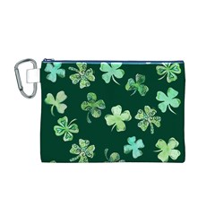 Lucky Shamrocks Canvas Cosmetic Bag (m) by BubbSnugg