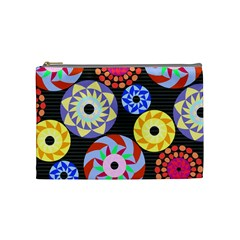 Colorful Retro Circular Pattern Cosmetic Bag (medium) by DanaeStudio