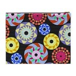 Colorful Retro Circular Pattern Cosmetic Bag (XL) Back