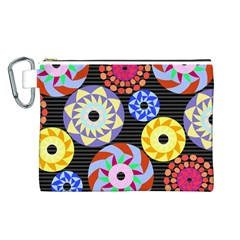 Colorful Retro Circular Pattern Canvas Cosmetic Bag (large) by DanaeStudio