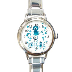 Seahorsesb Round Italian Charm Watch by vanessagf