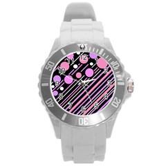 Purple Transformation Round Plastic Sport Watch (l) by Valentinaart