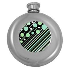 Green Transformaton Round Hip Flask (5 Oz) by Valentinaart
