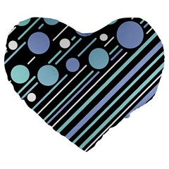 Blue Transformation Large 19  Premium Flano Heart Shape Cushions by Valentinaart