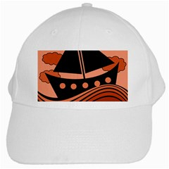 Boat   Red White Cap by Valentinaart