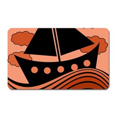 Boat - red Magnet (Rectangular) by Valentinaart