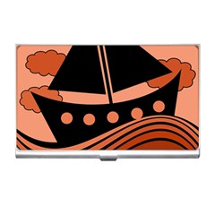 Boat   Red Business Card Holders by Valentinaart