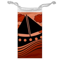 Boat   Red Jewelry Bags by Valentinaart