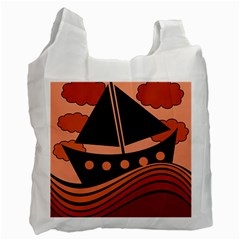Boat   Red Recycle Bag (two Side)  by Valentinaart