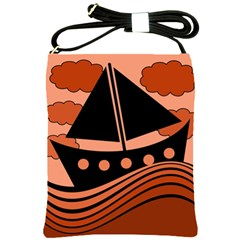 Boat   Red Shoulder Sling Bags by Valentinaart