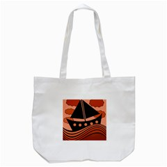 Boat   Red Tote Bag (white) by Valentinaart