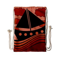 Boat   Red Drawstring Bag (small) by Valentinaart