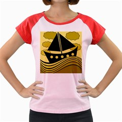Boat   Yellow Women s Cap Sleeve T Shirt by Valentinaart